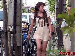 Japanese girls reveal up skirt and panties in public