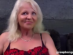 German granny gangbanged by a bunch of young guys