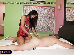 Teen shemale from Thailand gives a penetrating massage