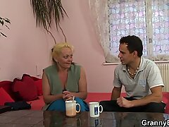 He picks up and doggy-fucks blonde old granny