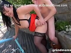 Horny Twink Shoves his Cock into Chubby Grandma