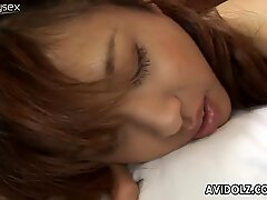 Skinny Japanese bitch Akira Shiratori blows a small dick and anal fucks in a missionary position