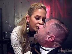 Horny MILF fucks a dude with a strapon