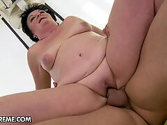 Sassy old woman rides this dick up her wet pussy hole