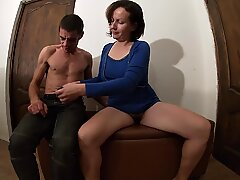 MILF in Blue Dress got a Cock in her Hairy Pussy