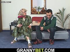 Young guy doggy fucks old woman