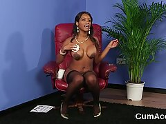Naughty doll gets cum shot on her face swallowing all the load  - Doll Face