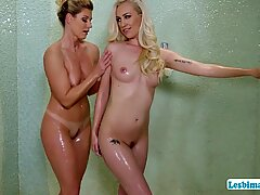 MILF India gives Lyra a hot lesbian sex after the massage