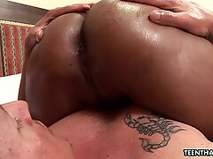 Oiled up and tanned Asian slut straddles her mans cock