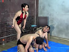 The slave treated like a dog by the dominatrix