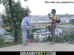 Younger guy heals very old busty grandma