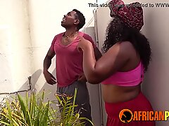 African Girlfriend Blowing Me While Neighbors Watch